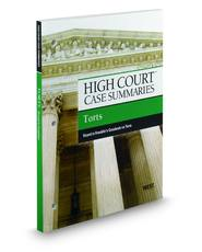 High Court Case Summaries on Torts, Keyed to Franklin